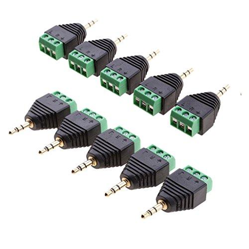 B Blesiya 10 x 3,5 mm 3 pines estéreo Audio Vedio Conector a 3 tornillos hembra