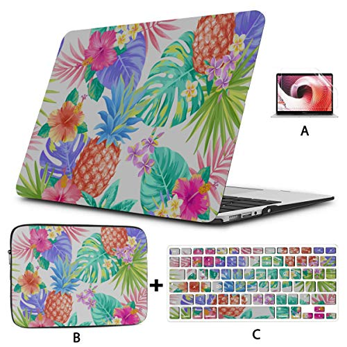 2017 MacBook Pro Case Tropical Palm Tree Leaves Pineapple MacBook Laptop Cover Hard Shell Mac Air 11'/13' Pro 13'/15'/16' with Notebook Sleeve Bag for MacBook 2008-2020 Version