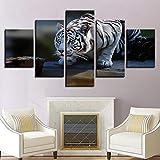 Pmcade Cinq Ensembles de Toile imprimée Roi des bêtes Tigre bête Animal Collage Feng Shui Maison Salon Chambre Salle à Manger...