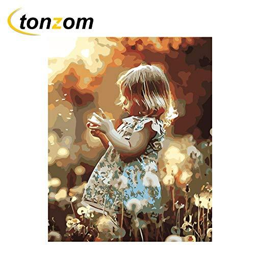 Diopn meisjes met bloemen, knutselen op cijfers, boerderij, olieschilderij op canvas, handbeschilderd, acryl, digitale schilderij (zonder lijst, 40 x 50,5 x 60 cm) 50 * 60CM