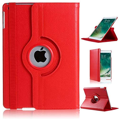 iPad 2/3/4 Case, DN-Technology Auto Sleep/Wake-Corner Protection-360 Rotating Leather Wallet Multi Angle Viewing Stand Slim Fit Smart Folio -2nd/3rd/4th Generation iPad Case-iPad 2/3/4 Cover (RED)