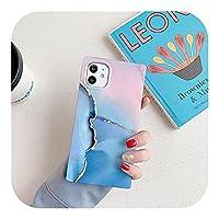 トレンディ ヴィンテージマーブルピンクブルー電話ケースFor iPhone12 Mini 11 Pro XS Max XR 7 8 Plus X SE2020マットソフトコックカバーリングホルダー-qianlan-for iPhone 11ProMax