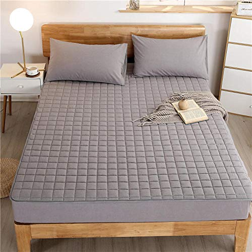 YFGY Wrinkle Resistant Fitted Bed Sheet single,Pure Cotton Lattice Quilted Bedspread, Dust Cover All-Inclusive Elastic Bed Sheets For The Bedroom Homestay gray 120 * 200cm+30cm