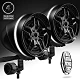 GoHawk AR4-Halo LED 4' All-in-One Waterproof Bluetooth Motorcycle Stereo Speakers 7/8-1.25 in. Handlebar Mount MP3 Music Player Audio Amplifier System AUX USB for ATV RZR 4 Wheeler (AR4-Halo Black)