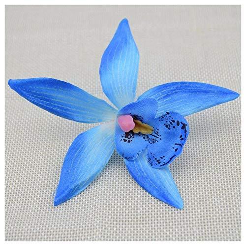 KAERMA 10PCS Günstige künstliche Blumen for Haus Hochzeitsdeko Silk Orchid Cymbidiumsimulation Schmetterlings-Blumen-Braut 9cm Aufkleber Zubehör (Size : M)