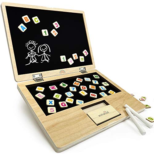 Portable Magnet Board for Toddlers, Magnetic Chalkboard for Kids with ABC Letters & Numbers. Alphabet Magnets for Learning and Drawing. Tabletop Art & Chalk Board Easel.Childrens Wood Toys for Toddler