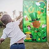 Skylety Juego de Lanzamiento de Bolsas de Frijoles de San Patricio Juego de Fiesta San Patricio Bandera Colgante de Trébol Duende de Juego Lanzamiento Prop Fotos con 3 Bolsas de Frijol