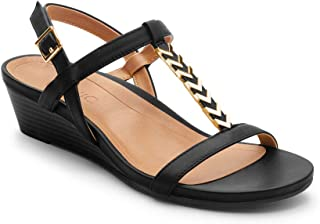 Women's Port Cali T-Strap Sandal - Ladies Demi Wedge Sandals with Concealed Orthotic Arch Support Black 7 Wide US