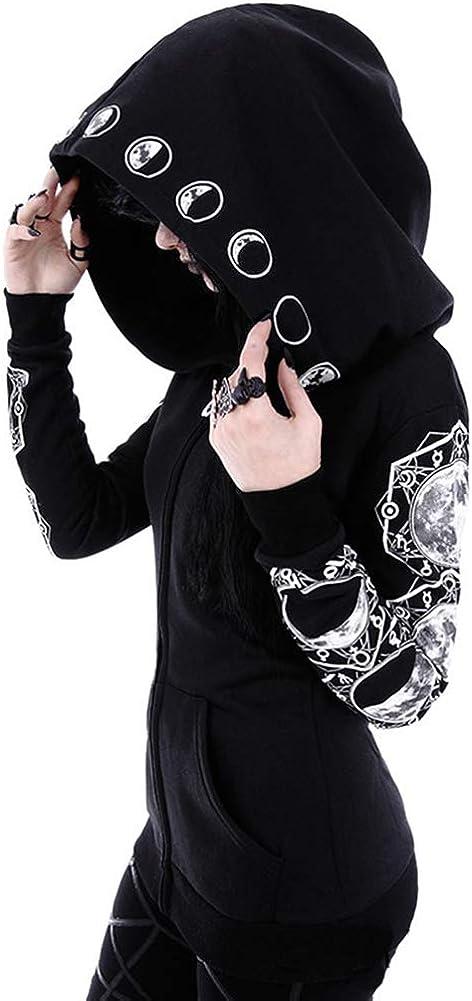 Verypoppa Women's Gothic Hoodie Jacket Punk Print Long Sleeve Sweatshirt Outwear Tops