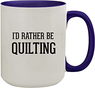 I'd Rather Be QUILTING - 15oz Colored Inner & Handle Ceramic Coffee Mug, Deep Purple