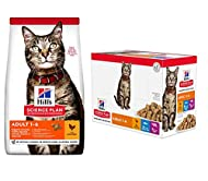 Hills Science Plan Adult 1-6 Dry Cat Food Chicken 300g and 12 X 85g pouches in Favourite Selection (...