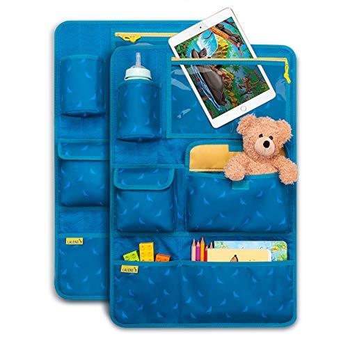 Laleni Kinder Autositzorganizer, Rückenlehnenschutz - Autositzschoner, 8 Fächer, Tablet-Halter, blau (2er Set)