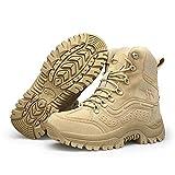 Bititger - Botas militares impermeables para hombre, de piel, con cremallera, botas tácticas y de combate para el desierto, para patrullas, seguridad, policía, color Beige, talla 42 1/3 EU