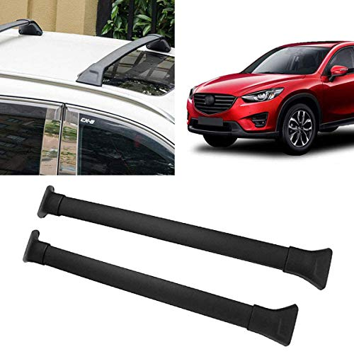Universal Black Car Cross Bars Top Luggage Roof Rack Lockable Anti-Theft Design Replacement for 2017-2018 Mazda CX-5