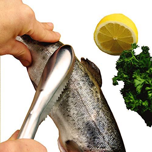 MASCHOTA® Fischschuppenschaber Fischschuppen Entferner aus rostfreiem Edelstahl, Fischentschupper fischschupper Schaber Schuppenentferner Entschupper Schupper Fish Scaler Scraper für Fisch in Silber
