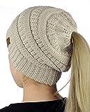 Crochet Mujeres Invierno Gorro de Lana Tejer Beanie Casquillos Calientes Sombrero de Invierno Diseño de Cola de Caballo (Beige)