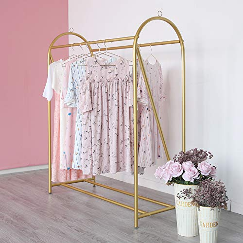 Gold Clothing Rack Retail Display Heavy Duty Clothes Garment Rack for Boutiques and Laundry Room.