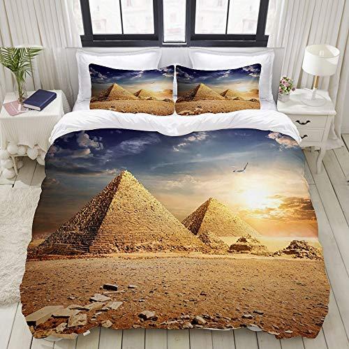 BROWCIN Bettwäsche-Set,Ägypten-Reise-alte ägyptische Pyramiden-Geschichte in der Wüste mit Fliegen Eagle Bird Nature Sunshine Landscape,mit 2 Kissenbezügen.200 x 200 cm