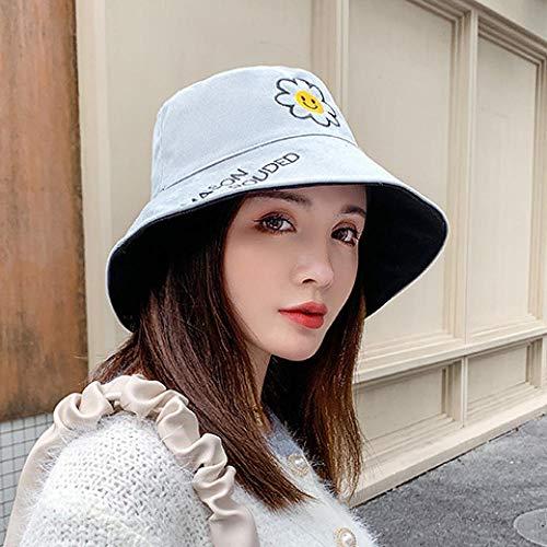 Margarita pequeña sombrero de pescador de doble cara femenino otoño e invierno versión coreana de marea salvaje letras japonesas sombrero de cuenca pequeño y grueso-Talla única (56-58cm)_azul negro