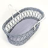 Bisoo 40x80 cm - Sábana Bajera 100% Muselina - Sabana Bajera Ajustable Para Capazo Cochecito Carro Bebé - Calidad Premium Extremadamente Suaves - Estampado Lunares (Baby Blue)