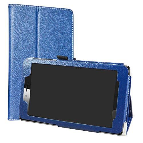 Vodafone Smart Tab Mini 7 / Alcatel Pixi 4 7 Funda,LiuShan Folio Soporte PU Cuero con Funda Caso para 7' Vodafone Smart Tab Mini 7 / Alcatel Pixi 4 7 Android Tablet,Azul