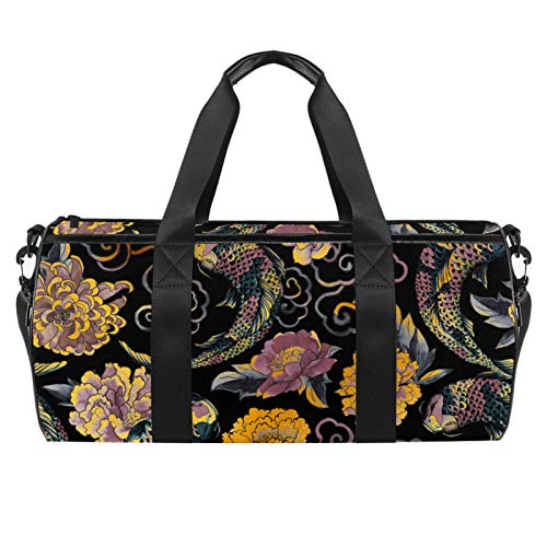 Asian Flowers And Koi Sports Gym Bag Cylindrical Travel Duffel bag with Wet Pocket Lightweight workout bag Travel with Shoulder Strap for men women