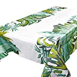 Mantel Mesa Plástico 137x183cm Impermeable Antimanchas Rectangular Patrón Hojas Verdes...