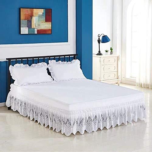 LANG ZI Encaje Falda de Cama,150/135 cm Volantes elástica Falda de Cama Bedding Ruffled Bedskirt Medidas canapé Cubre unda de somier Faldón de Volantes con (Color : A, Size : 200 * 200cm)