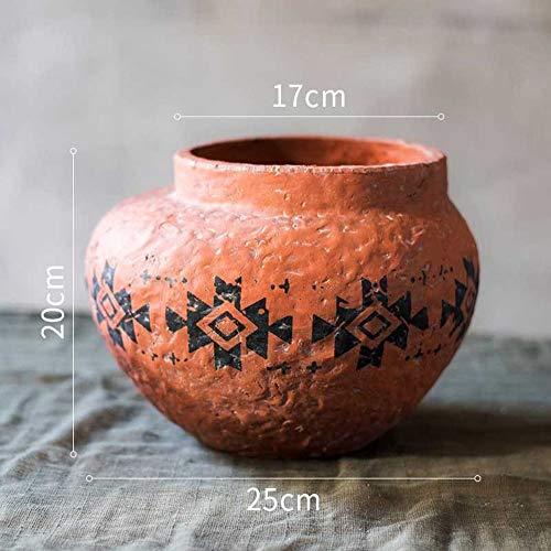 Rishx Keramik Terrakotta-Blumentopf Sukkulenten Pflanzer Garten Dekoration Hof Cactus Pot Marokkanische Terrakotta Blumentöpfe afrikanische Elemente Dekorative Utensilien Ornament (Größe : EIN)