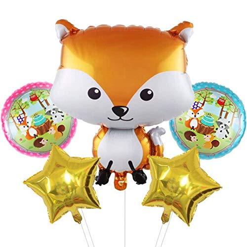 DIWULI, Juego de globos de animales de zorro, globos de papel de aluminio, globos de cumpleaños infantiles, fiestas temáticas, decoración de regalo, zoo, amigos del bosque, animales aéreos, estrellas