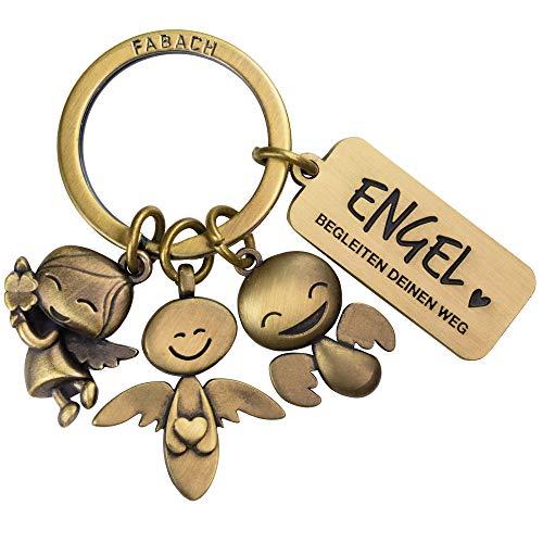 FABACH Schutzengel Schlüsselanhänger 3 Engel mit Gravur - Auto Schlüsselanhänger aus Metall mit Botschaft für Autofahrer - Geschenk Glücksbringer Auto Führerschein - Engel begleiten deinen Weg