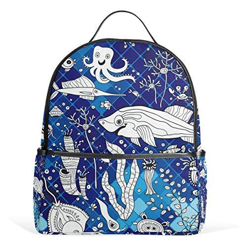 Rucksack für Damen, Teenager, Mädchen, Mosaik, Blau
