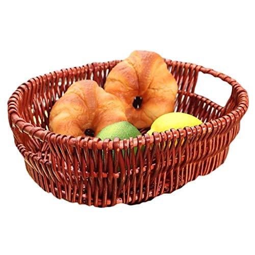 COLiJOL Fruit Bowl Wood Products Kitchen Storage Basket Hand-Woven Large Capacity Housewares Storage Fruit and Other Produce Fruit Basket (Color : Honey, Size : 34 * 10Cm),Brown,34 * 10Cm