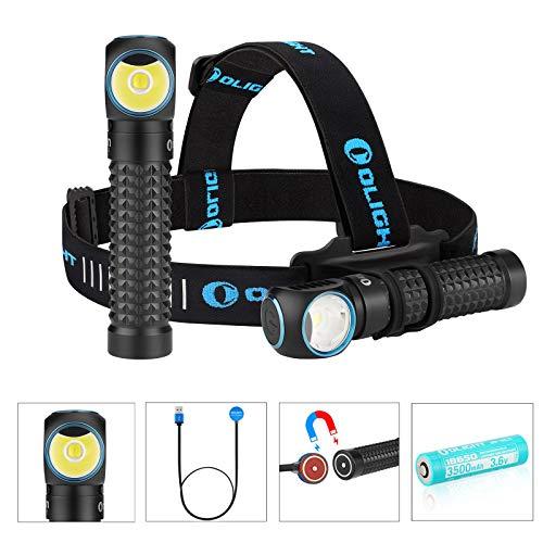 Olight Perun Scheinwerfer Stirnlampen 2000 Lumen Kaltes Weiß LED USB Magnetische Wiederaufladbare Taschenlampe EDC Tragbare Taschenlampen, mit 18650 Akku & Batteriefach & Kopfband