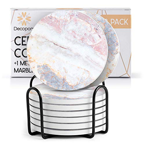 Coasters for Drinks Ceramic Cork Set - 8 Pcs Absorbent Beach Gold Marble Design Coasters with Metal Holder for Cups Mugs Coffee Wine Wooden Glass Tabletop Protection Bar Table House Warming Gift Home