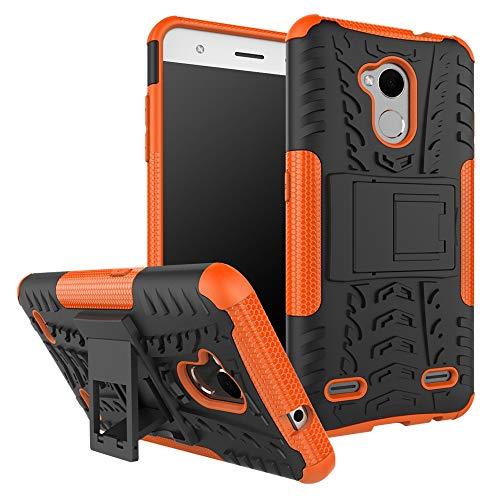 pinlu® Funda para ZTE Blade V7 Lite (5.0pulgada) Smartphone Doble Capa Híbrida Armadura Silicona TPU + PC Armor Heavy Duty Case Duradero Protección Neumáticos Patrón Naranja