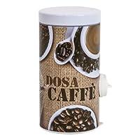 meliconi dosacaffé in lamiera litografata con coperchio bianco decoro coffe time, conserva aroma caffè, adatto a tutte le moka. made in italy