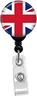 Britain British UK Union Jack Flag ID Card Name Tag Custom Badge Holder (Black Badge Reel with Spring Pinch Clip)