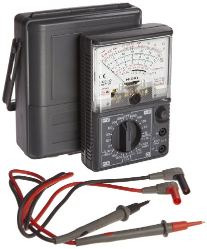 Hioki 3030-10 HiTester Manual-Ranging, Average-Sensing Analog Multimeter, 600V, 3 Kilohms, 300 Milliamp