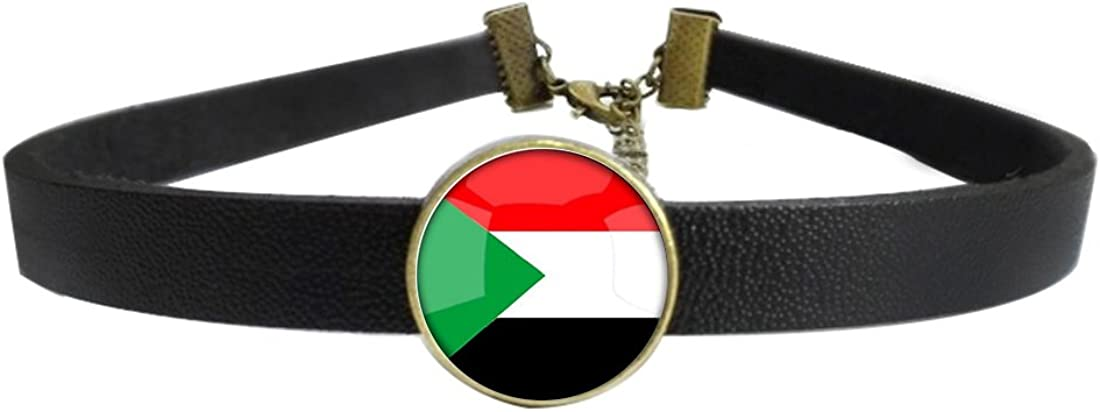 LooPoP Womens Gothic Leather Choker Collar The State of Israel National Flag Punk Necklace with Glass Pendant Adjustable