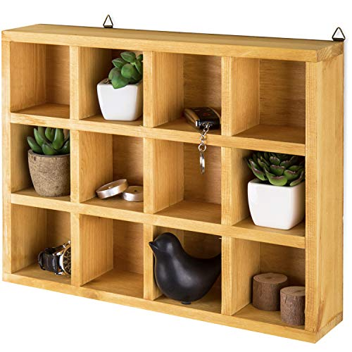 Wooden Freestanding/Wall Mounted 12 Compartment Shadow Box/Display Shelf Shelving Unit - MyGift