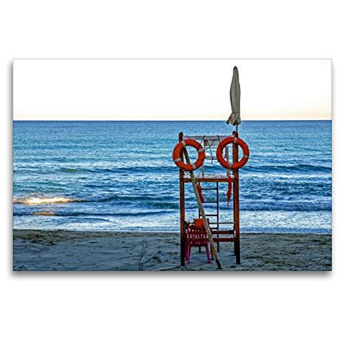 Premium Textil-Leinwand 120 x 80 cm Quer-Format Strand bei Finale Ligure | Wandbild, HD-Bild auf Keilrahmen, Fertigbild auf hochwertigem Vlies, Leinwanddruck von Frank Brehm (www.frankolor.de)
