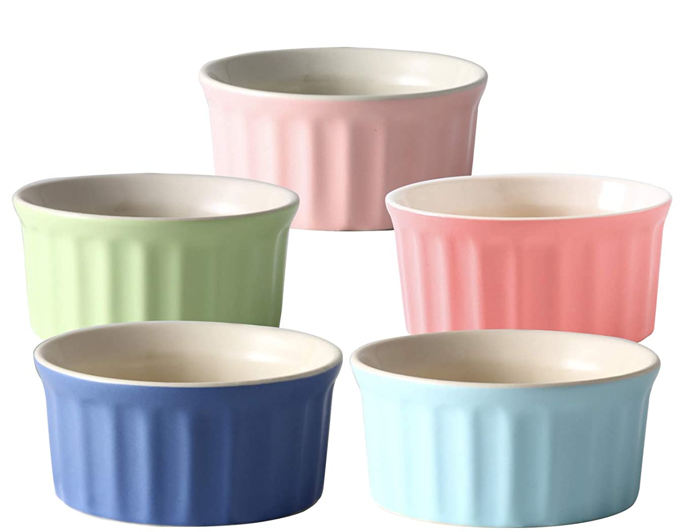 6 Ounce Porcelain Souffle Dishes | Oven Save Ramekins for Baking | Porcelain Baking Dish For Soufflé, Creme Brulee and Ice Cream | Set of 5 Souffle Cups