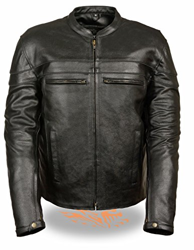 Cole Haan Men's Smooth Lamb Leather Sporty Moto Jacket, Black, Small