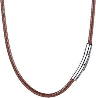 2mm 3mm Black/Brown Leather Cord Necklace with...