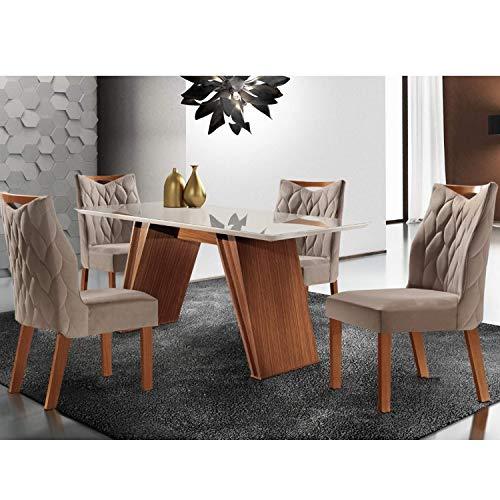 Conjunto Sala de Jantar Mesa Atena e 4 Cadeiras Delta Lj Móveis Castanho Prêmio/suede Capuccino/off White