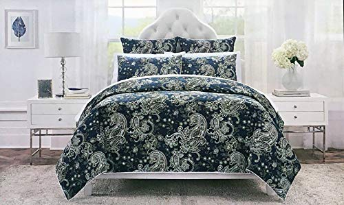 Tahari Home 3 Piece Duvet Cover Set Exotic Floral Paisley Pattern in White on Dark Navy Blue (Queen)