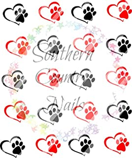 Dog Paws & Hearts - WaterSlide Nail Art Decals