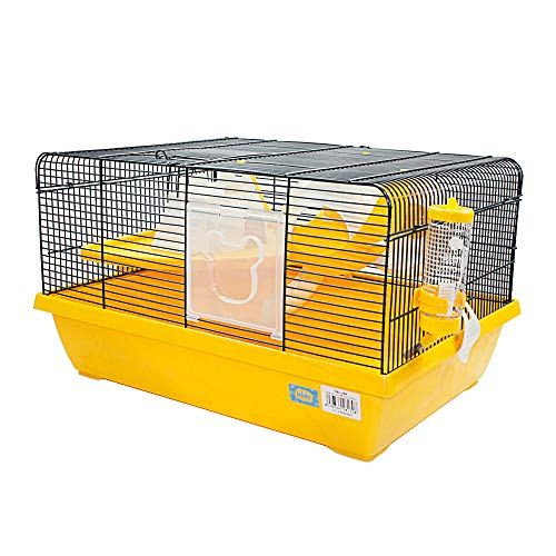 DZLA Jaula para Hamster hámster casa, Extra Grande Jaulas para Roborowski con 2 Puertas (M-51 * 37 * 24cm, Amarillo)