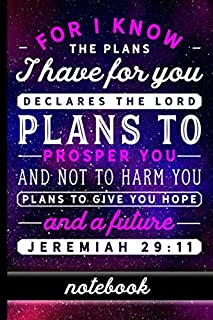 Jeremiah 29:11: Christian Bible Verse Notebook - 100 Page Double Sided College Ruled Journal - Great To Use As A Prayer Journal Or To Take Church ... Purple Night Sky & Pink And White Font